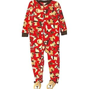 Carter's Boy's Fleece  Dog Print Footed PJs